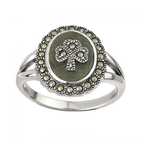Solvar Women's Sterling Silver Connemara Marble and Marcasite Shamrock Ring